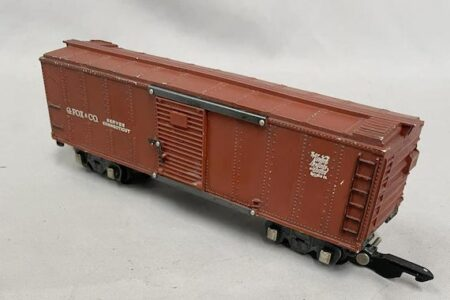 RARE AMERICAN FLYER G. FOX & CO. S GAUGE TOY BOXCAR TRAIN FROM 1946 MAKES $18,975 AT WEISS AUCTIONS
