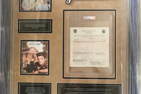 1957 CONTRACT SIGNED BY ELVIS PRESLEY AND HIS PARENTS FOR THE PURCHASE OF GRACELAND MAKES $114,660 IN AN ONLINE AUCTION HELD BY PRISTINEAUCTION.COM